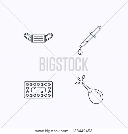 Medical mask, contraception and pipette icons. Clyster linear sign. Flat linear icons on white background. Vector
