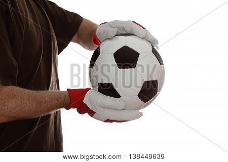 goal keeper catch a leather ball on white background