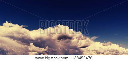 Horizontal vivid wide dark pano bottom aligned cloudscape compostion background backdrop
