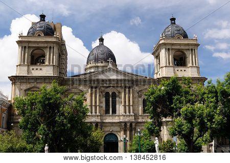 South America La Paz - the governmental capital of Bolivia. Cityscape - Plaza Murillo - Cathedral