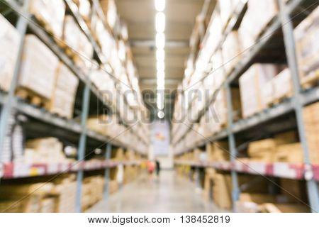 Warehouse Inventory In Defocus Store Blur Background