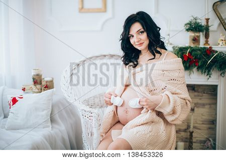 Beauty Pregnant Woman. Pregnant Belly. Beautiful Pregnant Woman Expecting Baby.