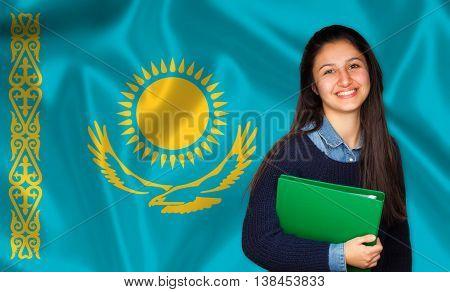 Teen Student Smiling Over Kazakh Flag