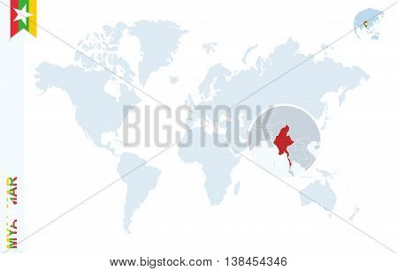 Blue World Map With Magnifying On Myanmar.