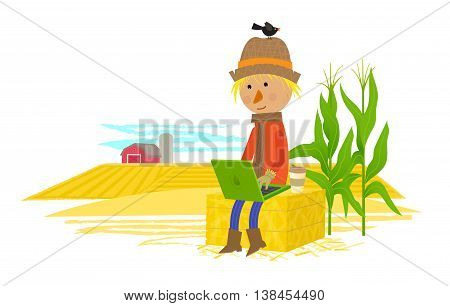 Cute scarecrow sits on haystack with his laptop, and a view of a countryside behind him. Eps10