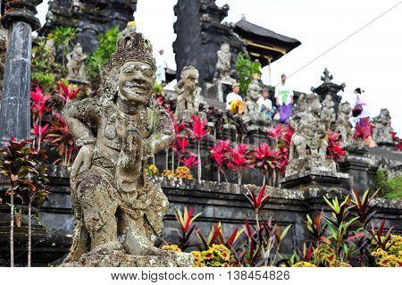 BALI, INDONESIA - 28 MAY 2015: Temple demons of Besakih Temple