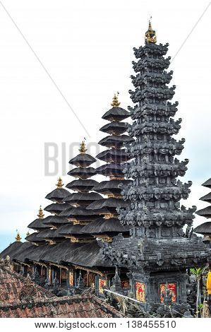 BALI, INDONESIA - 28 MAY 2015: High ground view of the towers of Besakih temple in Bali Indonesia