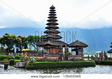 BALI, INDONESIA - 29 May 2015: Tower of Ulun Danu Beratan Temple in Bali Indonesia