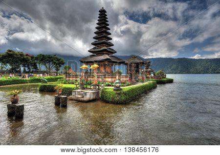 BALI, INDONESIA - 29 May 2015: Artistic HDR photo of Ulun Danu Beratan Temple in Bali Indonesia