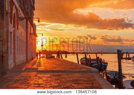 Grandiose sunset on the canal Cannaregio in Venice, Italy