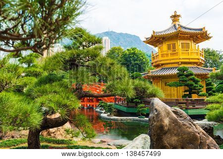 Hongkong Temple Pavilion Of Absolute Perfection In The Nan Lian Garden With River