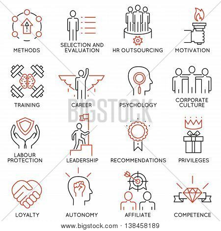 Vector set of 16 linear thin icons related to striving for success leadership development career progress and personal training. Mono line pictograms and infographics design elements - part 1