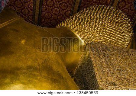 WAT PHO TEMPLE BANGKOK THAILAND OCTOBER 21 : The reclining Buddha at Wat Pho in Bangkok Thailand. Largest reclining Buddha in the world. On October 212014.