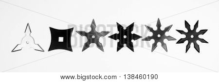Six different shurikens are isolated on white background.
