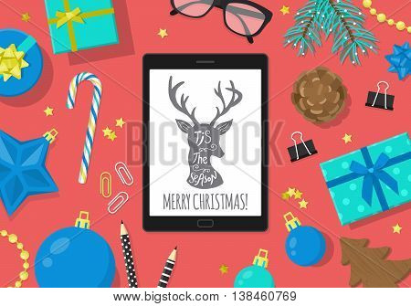 Flat modern Christmas banner design with digital tablet and Christmas decorations. Vector illustration