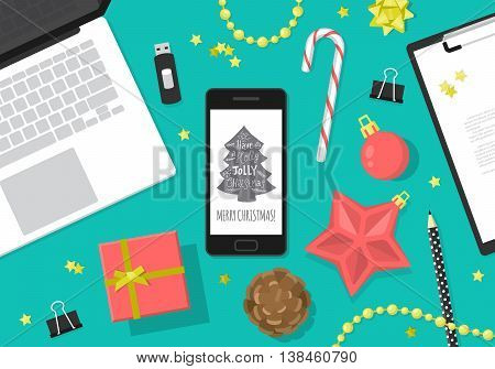 Flat modern Christmas banner design with smartphone laptop computer and Christmas decorations. Vector illustration