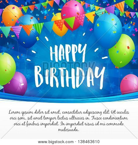 Birthday greeting card with balloons flags and confetti on blurred blue background with stars. White space for text.