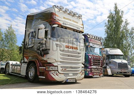 PORVOO, FINLAND - JULY 2, 2016: Scania Streamline R25 (R450) of Martin Pakos 25 years on the road in a group of other show trucks on Riverside Truck Meeting 2016.