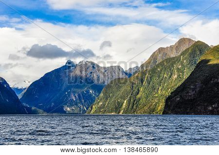 Navigating In The Milford Sound, New Zealand