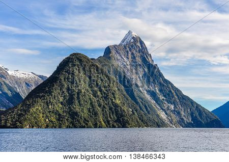 Majestic Mitre Peak In The Milford Sound, New Zealand