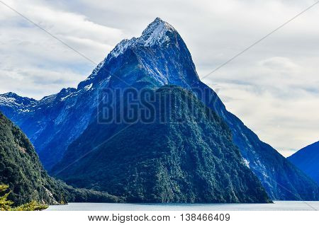 Mitre Peak From Close In Milford Sound, New Zealand