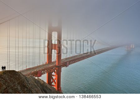 Fog, Mist, and Silhouettes. The Golden Gate Bridge, San Francisco, California, USA