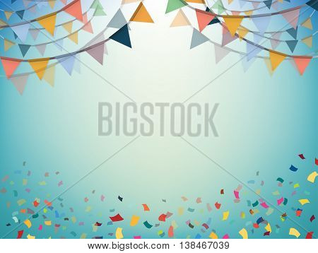Celebrate bunting flags bunting Party with confetti bunting illustration Vector eps10