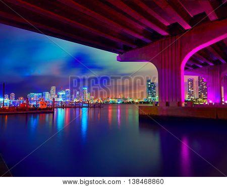 Miami downtown skyline sunset in Florida USA