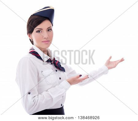 Portrait Of Welcoming Flight Attendant Isolated On White