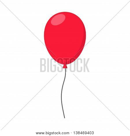 Red Balloon in flat style carnival happy surprise helium string. Air balloon isolated on white background