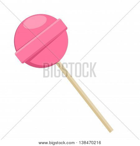 Lollipop sweet food in flat style isolated on white background. Pink lollipop sugar candy dessert vector.