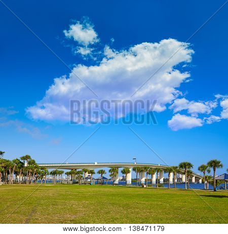 Daytona Beach Halifax river in Florida bridge and park USA