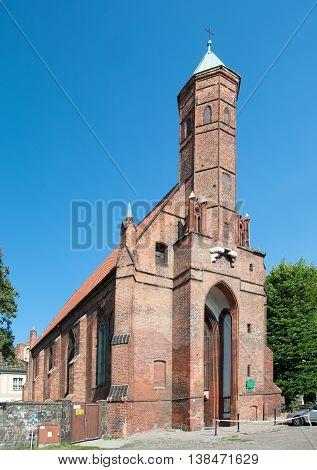 Medieval Gothic church of Saint Elisabeth in Gdansk Poland built in 15th century