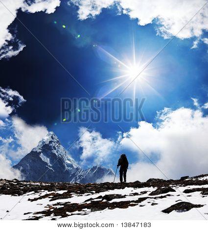 Hiker in Himalayan mountains