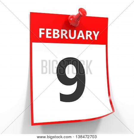 9 February Calendar Sheet With Red Pin.