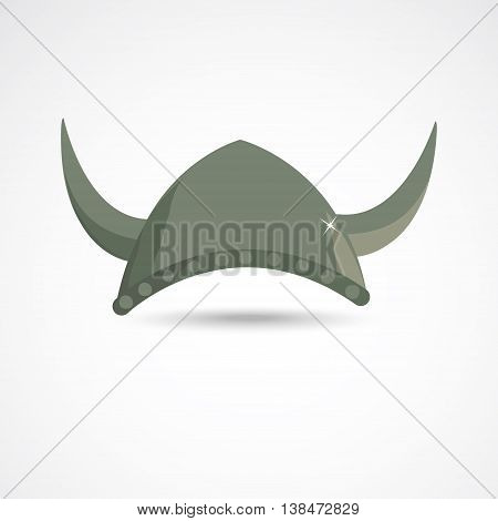 Ancient barbarian gray viking helmet with horns
