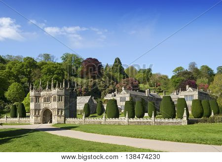 Main Entrance at Lynhydrock Castle in Cornwall UK.