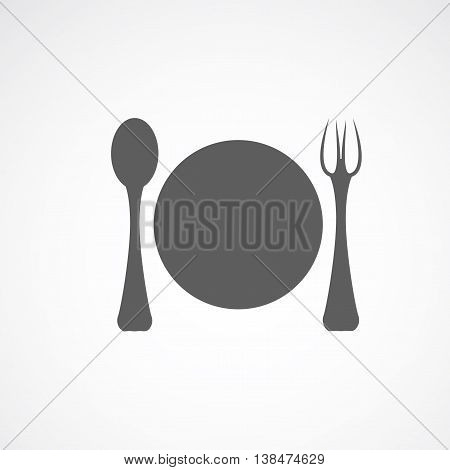 Grey silhouette of plate with fork and spoon