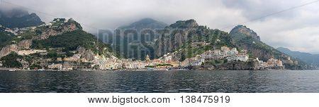 AMALFI ITALY - JUNE 28: Long Panorama of Amalfi on JUNE 28 2014. Amalfi Coast Panoramic Landscape in Amalfi Italy.