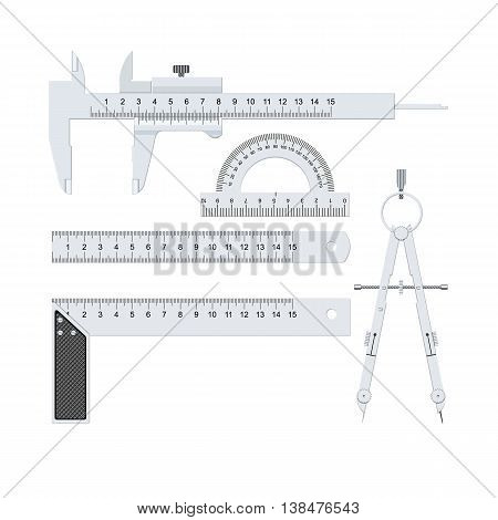 Measuring tools. Metallic color on a white background. Isolated vector illustration on white background.