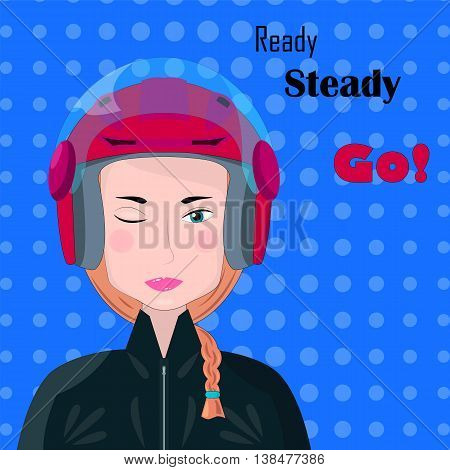 Red hair girl in helmet vector illustration in flat style. Extreme sport racing. Ready steady go. Flat cartoon style competition banner with blue polka dot background. Smiling woman wink image