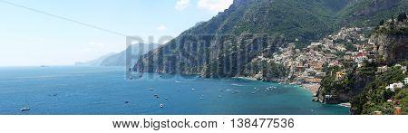 POSITANO ITALY - JUNE 27: Long Panorama of Positano Town on JUNE 27 2014. Picturesque Amalfi Coast Panoramic Landscape in Positano Italy.