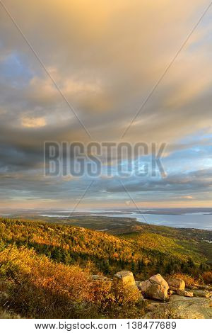 Scenic View of Fall Trees and Ocean Inlet with Colorful Morning Sky