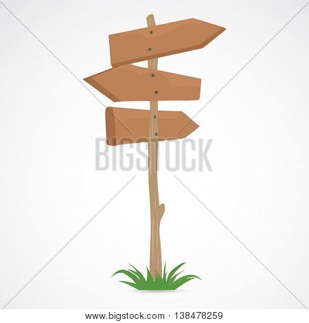 Wooden arrow road sign for showing directions