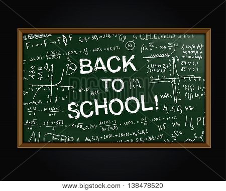The illustration of beautiful green scientific background with handwriting typography. Algebraic class blackboard. Vector fully scalable image with typography handwritten text. Back to School concept.
