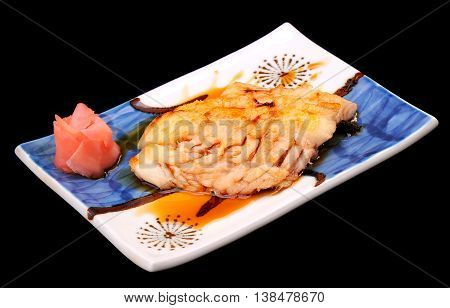 Sablefish grilled with sweet sauce in Japanese style.