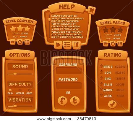 Set of orange cartoon boards and buttons for casual games. Graphic user interface vector illustration.