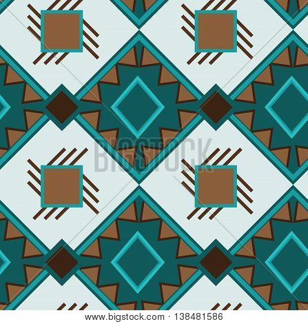 Ethno green boho ornament. Ethnic seamless pattern. Tribal art print, tile background. Fabric design, wallpaper, wrapping