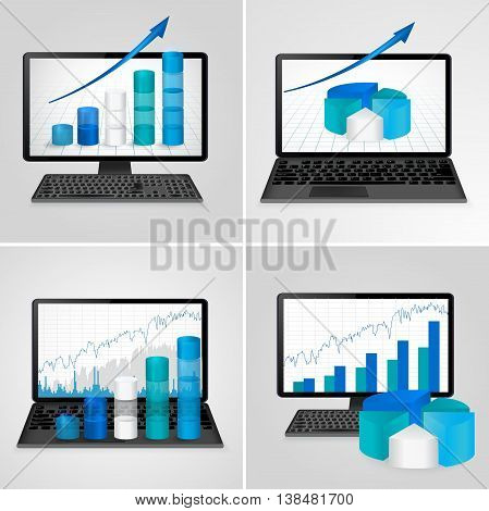 computers and laptops with financial charts and graphs  . Vector illustration.