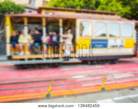 Abstract blur of San Francisco public transportation vehicles